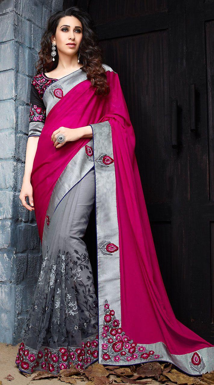 Silver Net Dark Pink Chinon Satin Pallu Karisma Kapoor Bollywood Saree