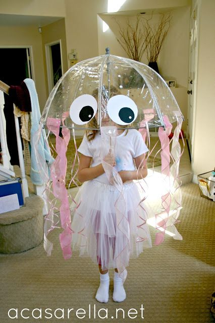 This homemade jellyfish costume is as easy to make as it is adorable. Add glow sticks to the costume at …