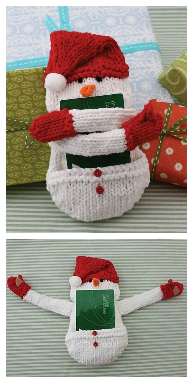 Snowman Gift Card Holder Free Knitting Pattern Freepattern Knitting Christmas Gifts Knitting Knitting Gift Christmas Gift Card Holders