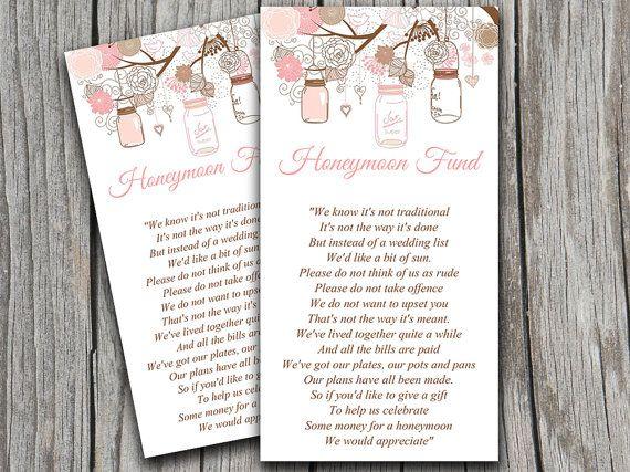 Mason Jar Wedding Honeymoon Fund Card
