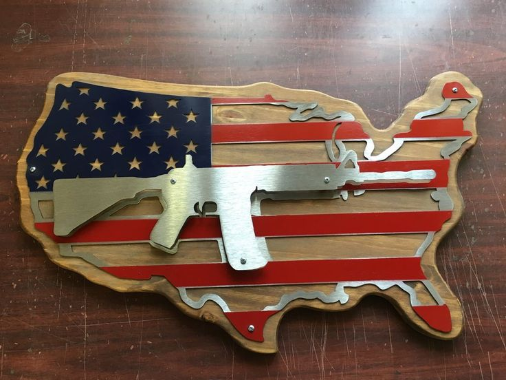 Painted Wood Mounted AR / USA Combo Set