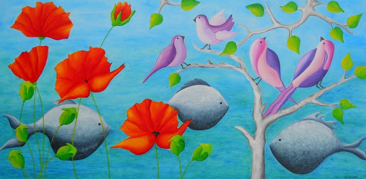 In the Garden of Eden, acrylic on canvas, 120x60 cm, 2015. Painting from artist Peter Vamosi
