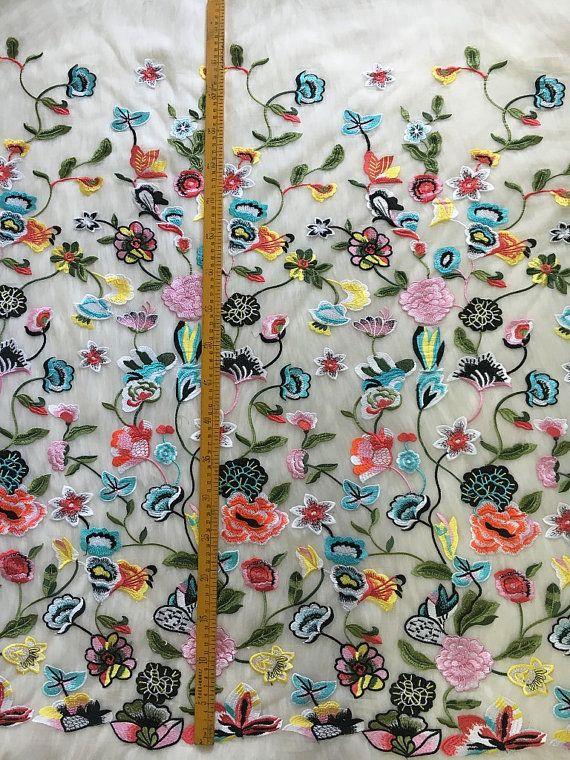 1 yarda de encaje Multicolor tela tela del cordón del vestido