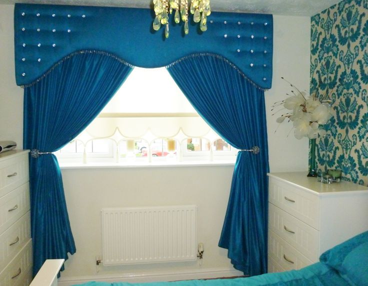 Pelmet and Curtains in a statement blue