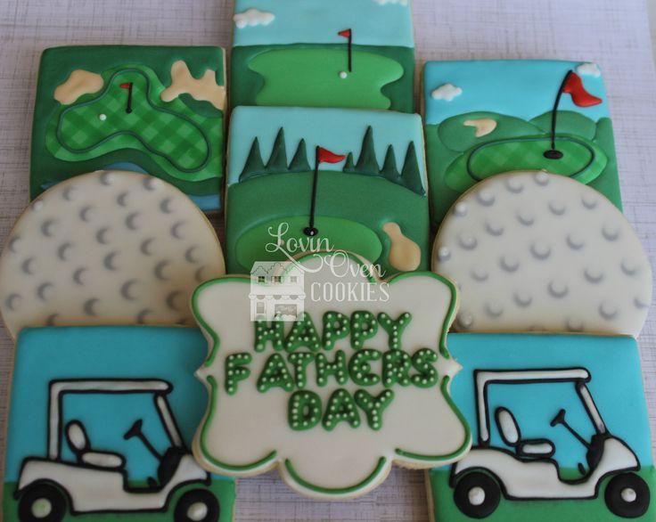 Golf course/golf green, golf ball, golf cart decorated sugar cookies