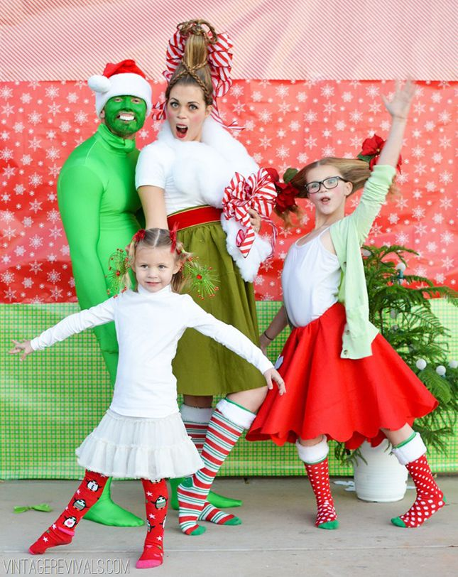 Dress up your family like Whoville townspeople for a hilarious Dr. Seuss' The Grinch-inspired holiday photo.