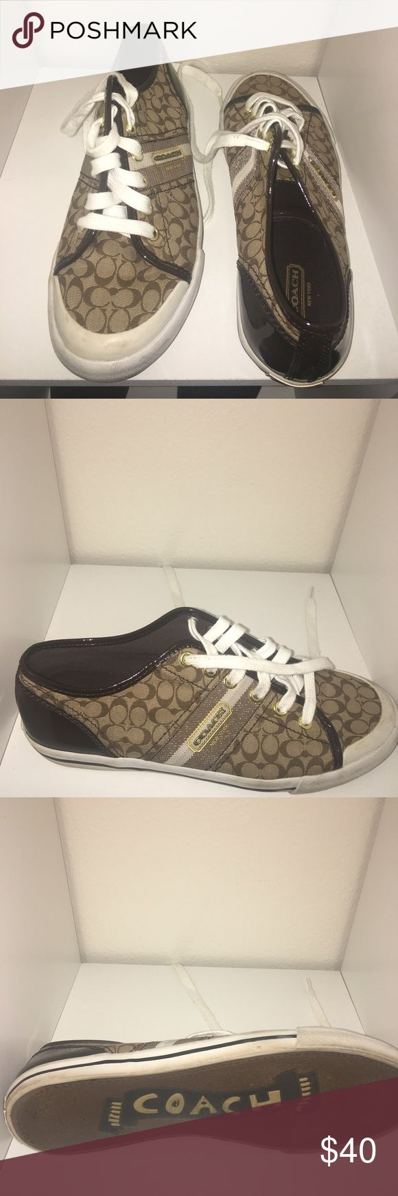 Coach Tennis Shoes Coach Tennis Shoes, some scuffs on white trim. Great condition otherwise. Coach Shoes Athletic Shoes