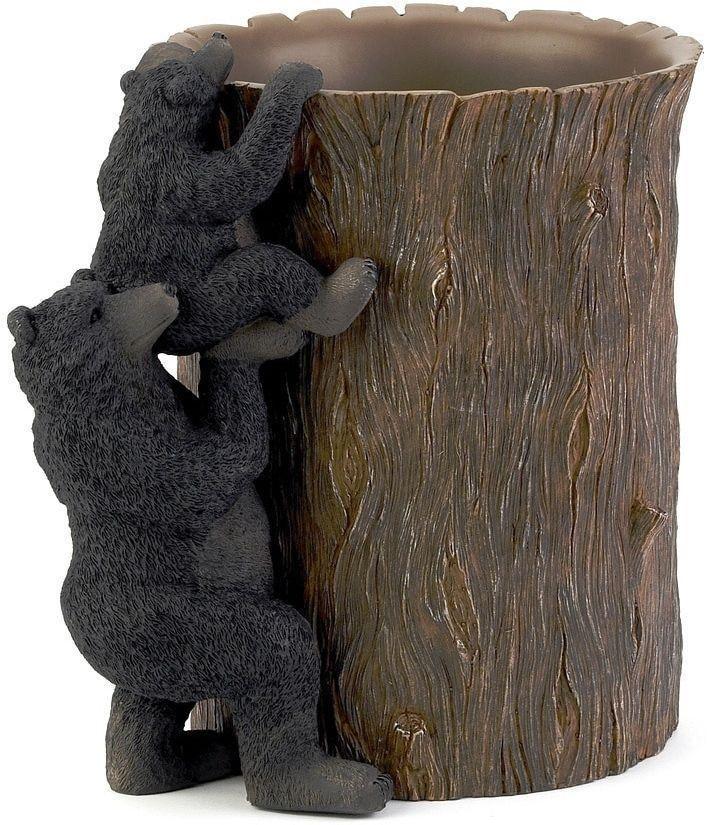 Black Bear Lodge Wastebasket Stylish Bathroom Accessory Home Decor #wastebasket