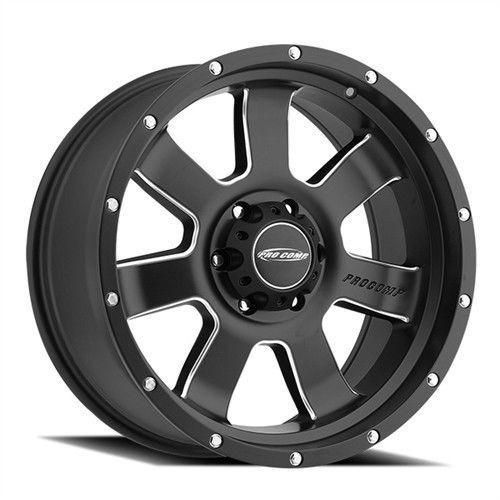Series 39 Interia 20x9 with 8 on 6.5 Bolt Pattern 4.75 Backspace Satin Black With Stainless Steel Bolts Finish Pro Comp Alloy Wheels