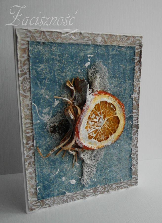 Świąteczna kartka z suszoną pomarańczą/ Christmas card with a slice of orange