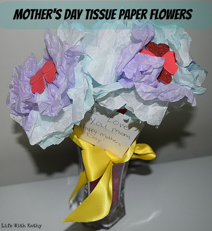 Mother's Day Tissue Paper Flowers. #DIY #MothersDay #TissuePaperFlowers #Craft