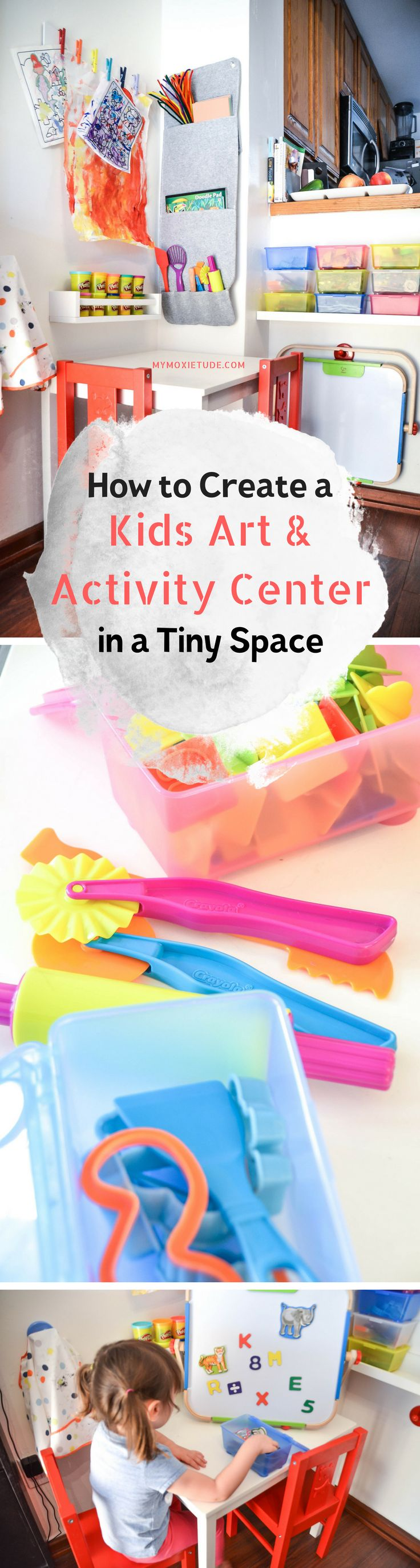 How to Maximize Creativity in a Tiny Space  http://www.mymoxietude.com/creativity-in-a-tiny-space/?utm_campaign=coschedule&utm_source=pinterest&utm_medium=Heather%20%7C%20My%20Moxietude&utm_content=How%20to%20Maximum%20Creativity%20in%20a%20Tiny%20Space  activity, art, space, workspace, table, work table, kid, kids, child, children, toddler, IKEA, Target, Hape, Crayola, crayons, Color Wonder markers, Play-Doh