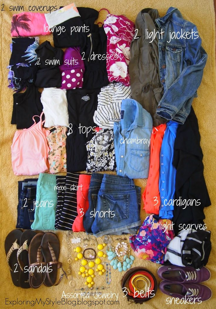 How to Pack 16 Days in a Carry On. This is not a bad list, I go with just 1 swim suit though and I wouldn't take a cover up, I just use a dress. Also for Europe I'd probably switch out the shorts for an extra pair of pants and one of the sandals for a flat