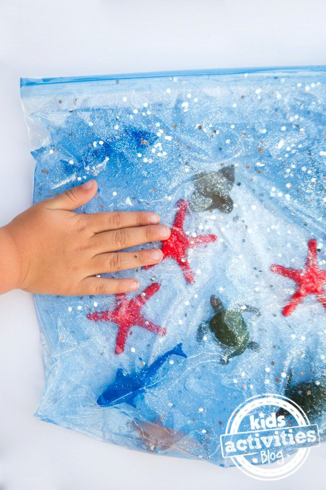 sacos sensoriais com o tema do mar