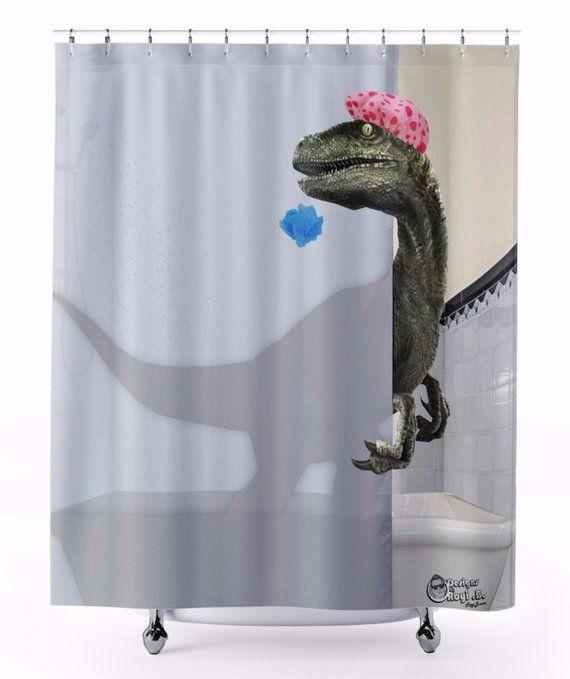 Awesome Custom Designed Velociraptor Shower Curtain That Tells