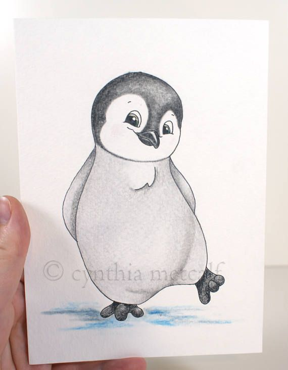 Baby Penguin Watercolor Painting Nursery Decor Original Cute