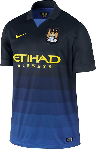 - Manchester City FC 2014/15 Away Kit - Horizontal stripes with midnight blue at the top fading to light blue at the bottom. Midnight blue collar, with a light blue filled-in v-neck. Nike. Premier League.
