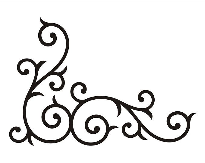 wrought iron corner swirl medium scrollwork pinterest stencils