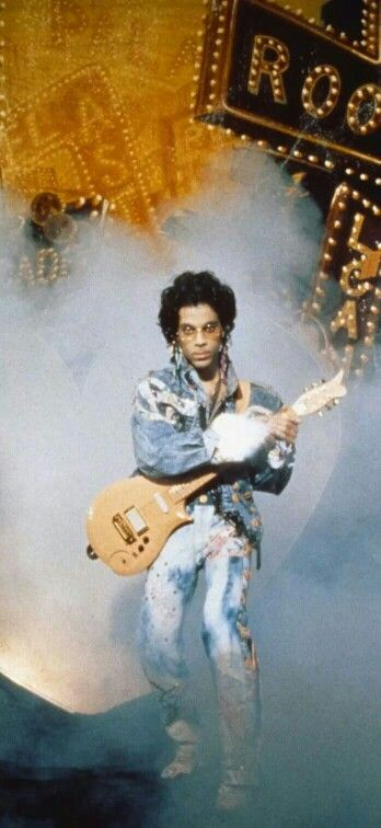 """Classic Prince   1987 Sign """"☮"""" The Times - Jeff Katz album cover Paisley Park stage photo session - a fan cropped out Cat."""