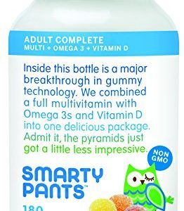 SmartyPants Adult Complete Gummy Vitamins: Multivitamin AND Omega 3 DHA / EPA Fish Oil, Vitamin D3, B12 (Methylcobalamin), 180 count