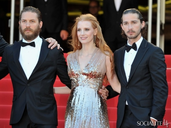 Jessica Chastain, Tom Hardy, and Shia LaBeoud hit The Red Carpet For The Cannes Premiere Of 'Lawless'