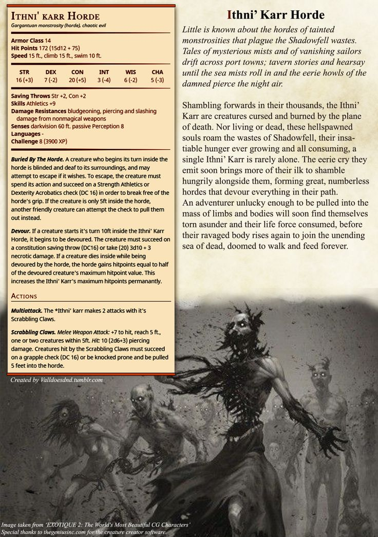 As I am a DM for my own custom created Campaign in the weird world of Eressi, I thought I might as well start throwing up my Homebrew D&D 5e creations for if anyone else wants to use them. Just credit me and stuff and I'll be happy.