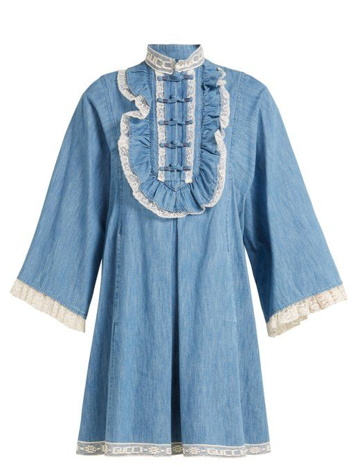 dcb0df4328a Gucci Lace-trimmed chambray dress | Kaboodle in 2019 | Chambray ...