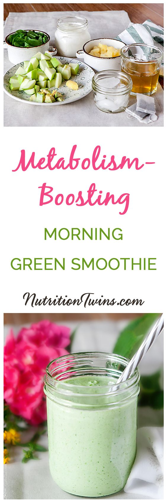 Metabolism Boosting Morning Green Smoothie   Only 207 Calories   Packed with protein, fiber and anti-inflammatories that keep your body in better working order to fuel efficient organs and a well-tuned metabolism   For MORE Nutrition & Fitness Tips & RECIPES please SIGN UP for our FREE NEWSLETTER www.NutritionTwins.com