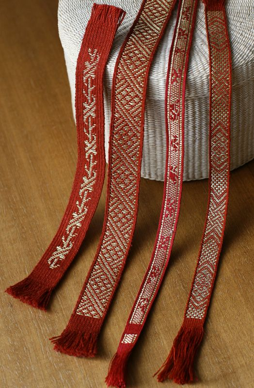 tablet woven brocaded bands. Birka en more. Sewing silk. Marijke van Epen
