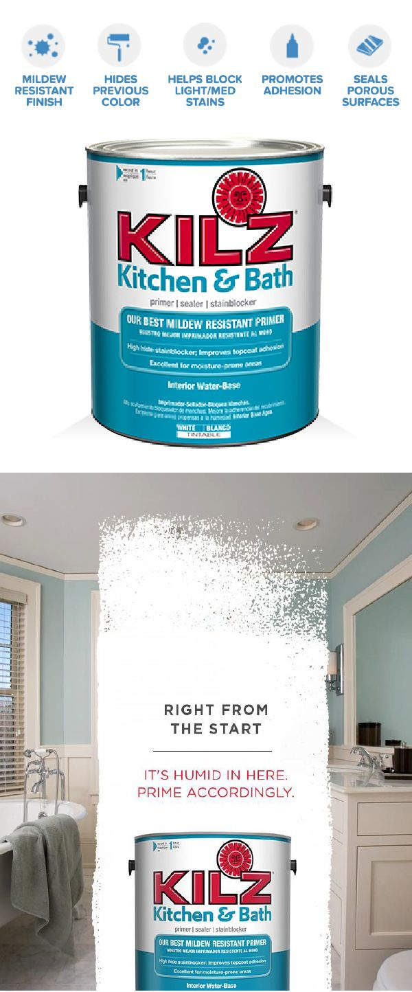 Protect the humid areas of your home from mildew and stains with KILZ Kitchen and Bath Primer. This water-based primer, sealer, and stainblocker is specifically designed to offer excellent paint adhesion in high-humidity, moisture, and temperature spaces like kitchens, laundry rooms, and bathrooms.