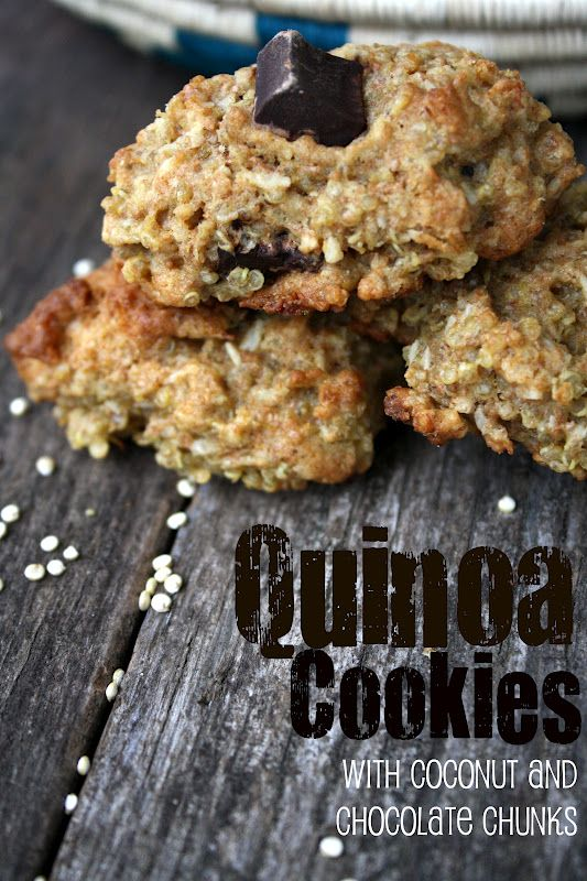 Quinoa Cookies with Coconut and Chocolate Chunks.Quinoa Cookies, Fun Recipe, Sweets, Coconut, Food, Chocolates Chunk, Eating, Quinoa In Desserts, Quinoa Desserts