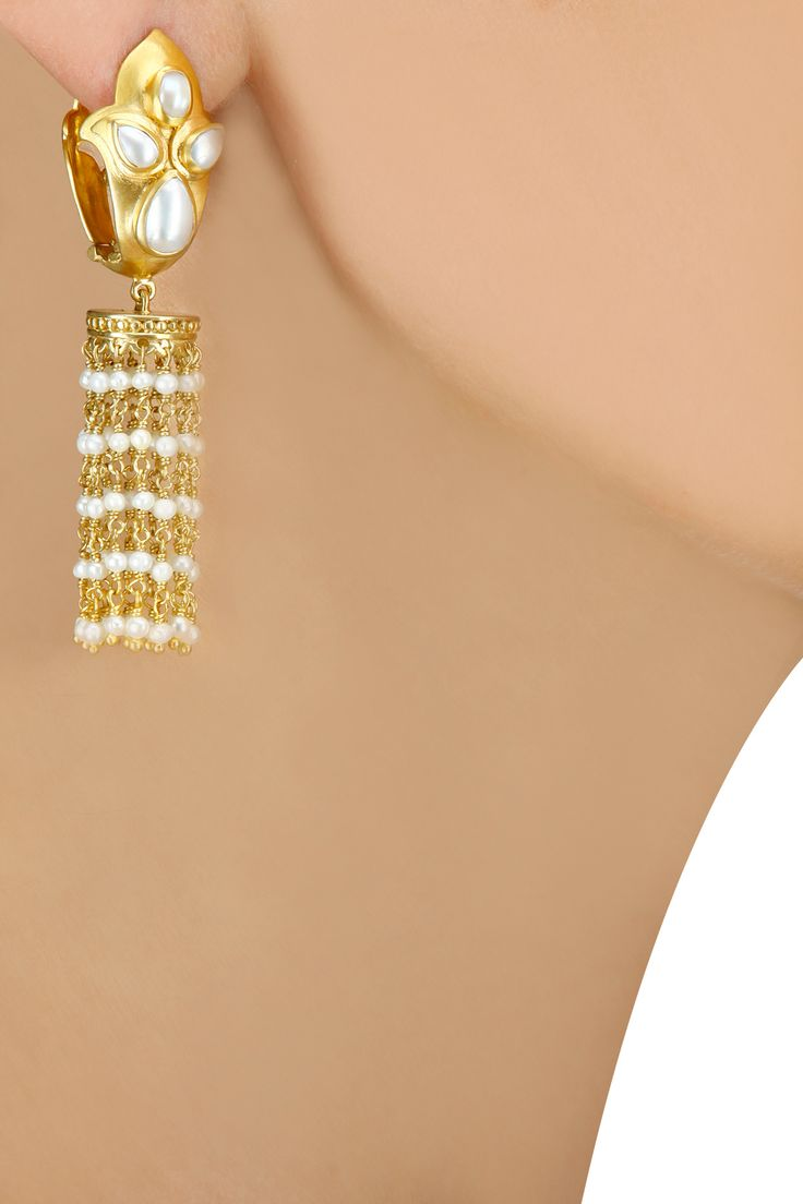 Gold plated pearls chain tassel earrings BY AMRAPALI. Shop now at perniaspopupshop.com #perniaspopupshop #earrings #amazing #quirky #musthave #love #jewellery #happyshopping #exquisite #shopnow