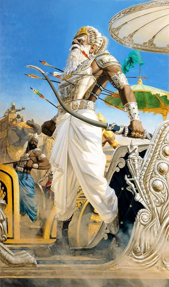 "Grandfather Bhisma stands courageously on the battlefield as the arrows of Arjuna pierce his body  ""Museum of Spiritual Art"" in Florence  artist: Jnananjana das (Giampaolo Tomassetti)"