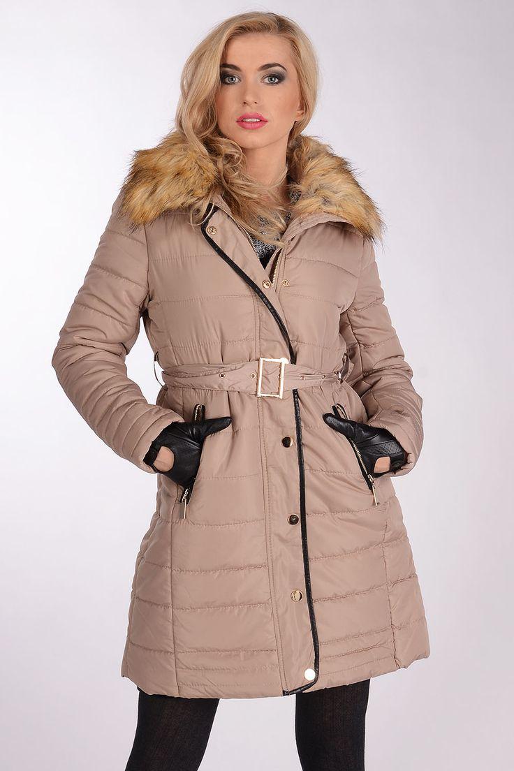 Stílusos, meleg kabát prémes KT-28, Női dzsekik / Coats Ruházat - Avaro.pl