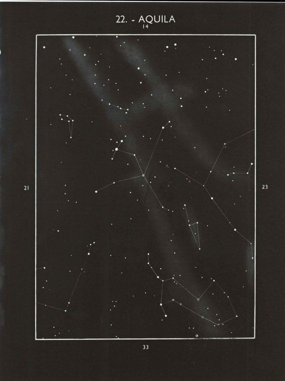 Vintage Astronomy Print Aquila Constellation by CarambasVintage