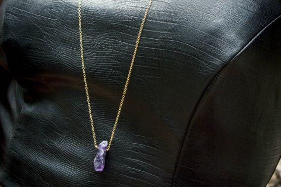 Raw Amethyst Necklace Long Gold Chain Gemstone by IndigoLizard