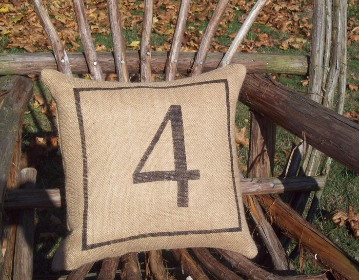 Number Pillow - Decorative Pillow - Burlap Pillow - Industrial Decor - Rustic Pillow - Other Colors Available - Number Home Decor by NorthCountryComforts on Etsy https://www.etsy.com/listing/98249995/number-pillow-decorative-pillow-burlap
