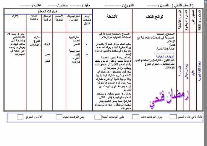 نموذج تحضير درس لغة عربية 12