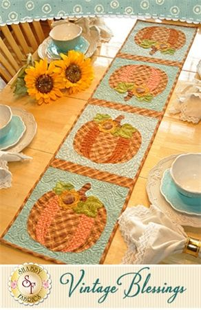 "Vintage Blessings Table Runner - October Pattern: Full Set of 12 patterns available here - buy all 12 and save 10%! Decorate your home all year long with a beautiful Vintage Blessings Table Runner by Jennifer Bosworth of Shabby Fabrics. This pattern is for the October design. Table Runner measures approximately 12 1/2"" x 53""."
