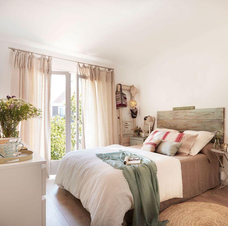 00436806b. Dormitorio con caídas en color crudo. 00436806b