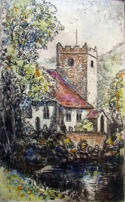Hand Colored Etching Of Grasmere Church England By The Talented Artist Michael Bond