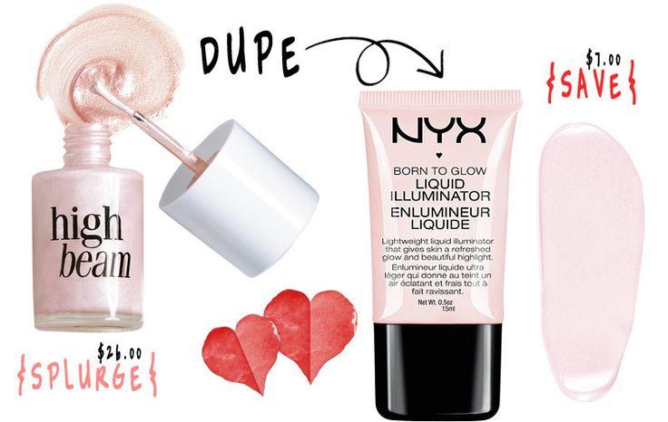 Makeup Dupe Benefit Vs Nyx Cosmetics High Beam Vs Sun
