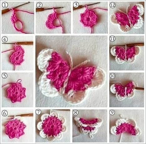 Mariposa crochet paso a paso