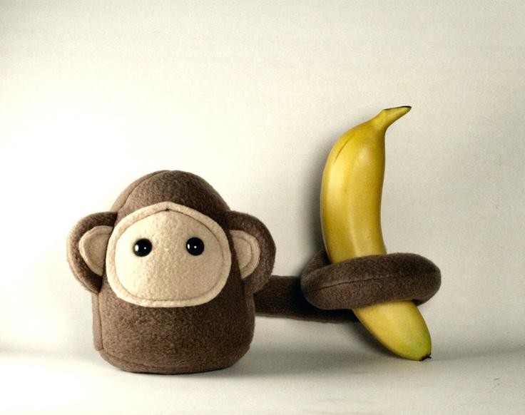 Brown Stuffed Monkey Plush. via Etsy.