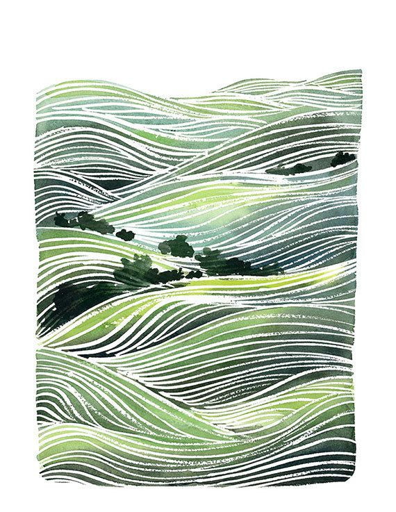 Handmade Watercolor Archival Art Print Landscape por YaoChengDesign, $20.00