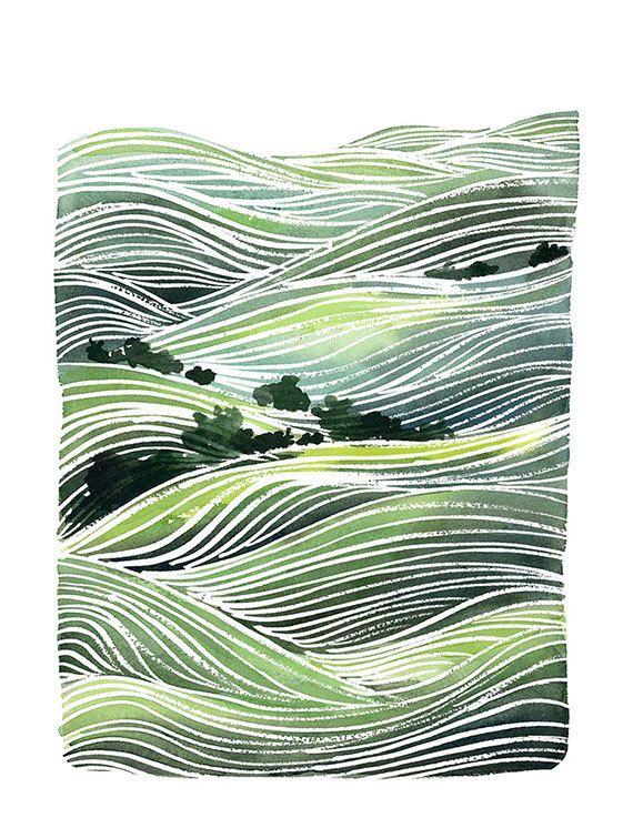 #Watercolor Archival Art Print Landscape by YaoChengDesign. Inspiración para seda