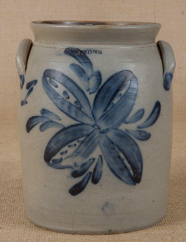 New York stoneware crock, 19th c., impressed Lyons, with cobalt floral decoration, 9'' h.