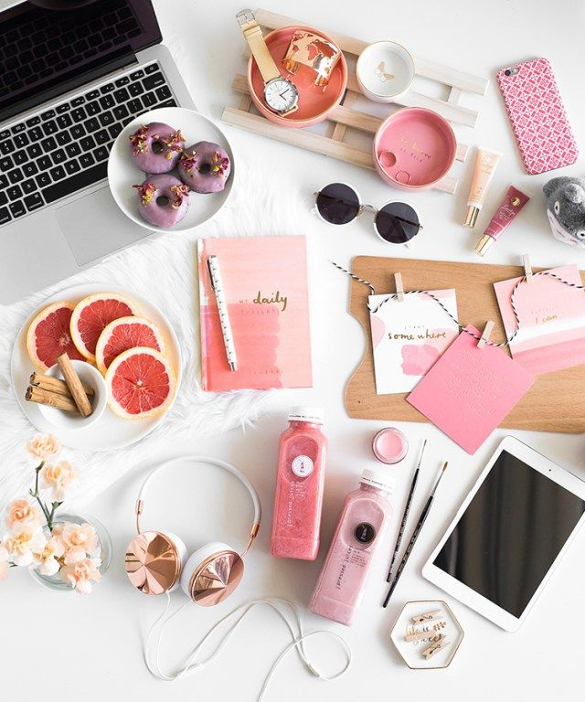 Be Brave pink and peach stationery flatlay - Kikki.K x Me Oh My