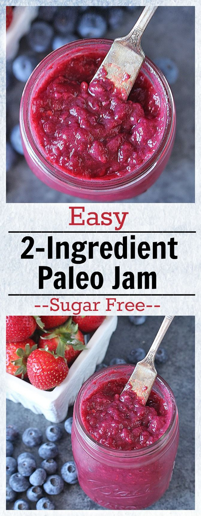 Easy 2 Ingredient Paleo Jam- sweetened only with fruit and made in under 20 minutes. Gluten free, dairy free, whole30, and so delicious!