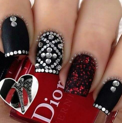 Dior black red glitter and rhinestones nails